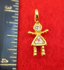 14KT GOLD EP GIRL APRIL CLEAR SMALL BIRTHSTONE KIDS PENDANT CHARM
