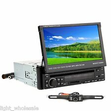 "Universal Single Din 7""Flip Down Car Stereo DVD Radio Player Touchscreen MP3+Cam"