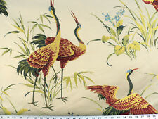 Drapery Upholstery Fabric Embroidered Herons & Bamboo on Jacquard - Ivory