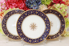 Stunning Limoges, Hand Painted Cobalt Plates with Rich Gilding (3)