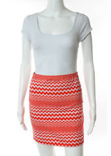 M MISSONI Orange White Cotton Chevron Print Body Con Skirt Sz S