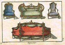 """Diderot's """"Enclyclopedie"""" -""""TAPISSIER Pl. 3"""" (UPHOLSTERY) H-Col. Eng. -1751-72"""
