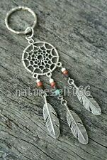 SILVER DREAMCATCHER KEYRING ☆AUSSIE MADE☆ PENDANT CHARM FEATHERS WOOD&SEED BEADS