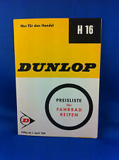 Dunlop Preisliste Fahrradreifen Handel H16 1965 ***WIE NEU***