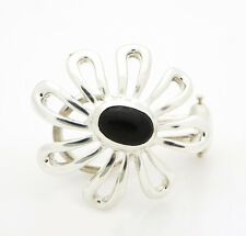 Tiffany & Co. 925 Sterling Silver Flower Paloma Picasso Onyx Earring DS-5011