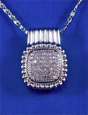 "S. STEEL PAVE SET DIAMOND RIBBED SQUARE PENDANT, 20"" CHAIN, 0.33CTTW, 1/2""X1/2"""