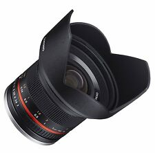 NEW Samyang 12mm F2.0 Ultra Wide Angle Lens for DSLR CAMERAS with Case and HOOD