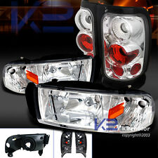 94-01 Dodge Ram 1500 2500 3500 Chrome Headlights+Clear Rear Tail Lamps