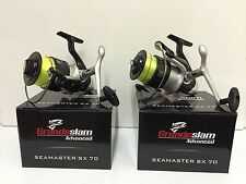 2 x LARGE GRANDESLAM FISHING REELS SEA PIER BOAT FISHING LOADED WITH 20LB LINE