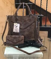 Montana West Cut Out scroll Pattern Scallop trim Concealed Carry Handbag+Wallet