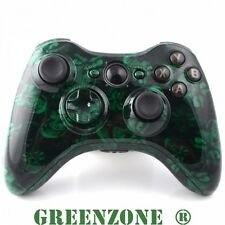 Custom Xbox 360 Hydro Dipped Green Skulls Monster Controller Shell Mod Kit