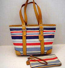 COACH Multi Color Canvas Stripe Tan Leather Trim Purse w/FREE Wristlet 7743