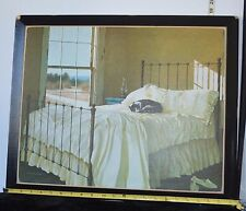 """Zhen-huan Lu - """"Lazy Afternoon"""" Signed  Print of Tabby Cat Asleep on Bed 19 x 23"""