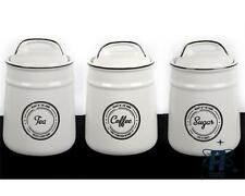 HEART OF THE HOME SET OF 3 CERAMIC KITCHEN TEA COFFEE SUGAR CADDIES STORAGE TINS