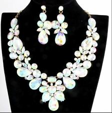 IRIDESCENT CLEAR RHINESTONE CRYSTAL STATEMENT SILVER CHAIN NECKLACE EARRING SET