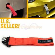 FITS BIMMERS! EUROPEAN 14MM STEEL BOLTS SUPER DUTY NYLON TOW TOWING STRAP RED