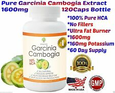 100% Pure Garcinia Cambogia HCA 1600mg 120 capsules Research Verified USA 90-95