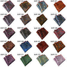 5 Pieces Men Paisley Pocket Square Silk Handmade Handkerchief 200 Colors To Pick