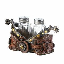 Cowboy Spurs Salt Pepper Shaker Western Style Holder Glass Metal Shakers