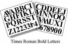 52 x 2 inch (50mm) BLACK TIMES ROMAN LETTERS AND NUMBERS VINYL SELF ADHESIVE DIY