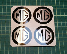 4 x 60mm ALLOY WHEEL STICKERS MG logo Chrome Effect on Black centre cap