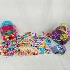 Large Lot of Polly Pocket Dolls, Car, Clothes, Accessories, and more