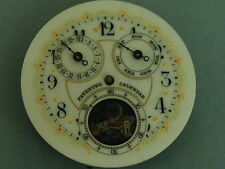 Rare Antique Triple Date Day Moon Phase Pocket Watch Movement w/Multi Color Dial
