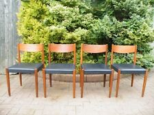 Set of 4 Mid Century Modern 1960's Teak Danish Stamped Curved Back Dining Chairs