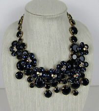 NWT Authentic J Crew Midnight floral necklace Blue Navy $150 Item # F2782
