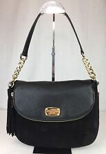NWT MICHAEL KORS Bedford Medium Convertible Shoulder Black Leather Suede Bag