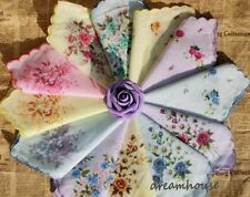 12XWOMEN VINTAGE COTTON FLOWER HANDKERCHIEF HANKY FLORAL ASSORTED WHOLESALE LOT