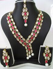 Indian Bollywood Traditional Pink White Kundan Bridal Necklace Jewelry Set
