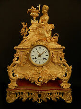 Antique French Gilt Bronze Figural Clock on support  Japy Freres c1840