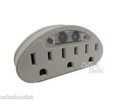 3 AC Outlet Grounded Wall Tap Switch Adapter w/Light Convert 1 AC Outlet in to 3