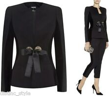 ICONIC CHIC ELEGANT Alexander McQueen black collar less jacket w/velvet trim