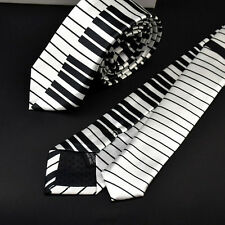 Men's Black & White Piano Keyboard Necktie Tie Classic Slim Skinny Music Tie