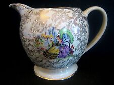 Pitcher Sadler China England Colonial People yellow purple Dress Gold Floral Vtg