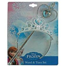 Disney Frozen Crown Tiara and Wand Set - Silver with Blue Elsa and Anna Heart