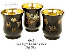 GOLD LEAF SET OF 3 GLASS TEA LIGHT CANDLE HOLDERS VASE GIFT HOME DECOR ORNAMENT
