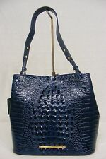 NWT Brahmin Camden Bucket Bag Navy Melbourne Croc Embossed Leather. Navy Blue