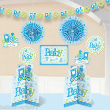 10 Piece Little Blue WELCOME Baby Boy Shower Party Paper Room Decorating Kit
