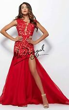 61041R MacDuggal Red Lace Crystal Evening Formal Prom Gown Dress Size USA 4