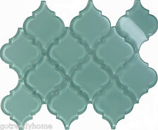 Sample Blue Arabesque Moroccan Pattern Glass Mosaic Tile Kitchen Backsplash Sink