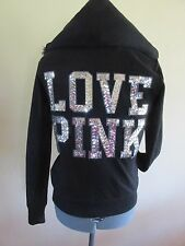 Victoria Secret Silver Sequins LOVE PINK Zip Hoodie Faux Fur Lined - Small