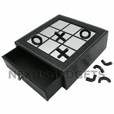 Tic Tac Toe Mirror Reflection Board Half Game Pieces BLACK Leatherette TicTacToe