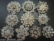 10 Assorted Crystal Rhinestone Buttons Brooch Bouquet Pearl Wedding Cake Clips