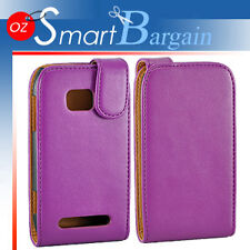 Premium PURPLE Flip Leather Case Cover For Nokia Lumia 710 + Screen Protector