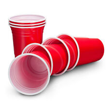 50 Packs Durable Home Party Disposable American Plastic Red Cups 16oz Apple Red