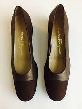 10499 Womens Salvatore Ferragamo Boutique Leather Shoes Brown/Gold  Size 8 2A ~