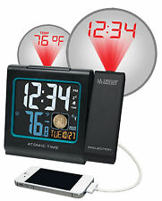 616-146A La Crosse Technology Atomic Projection Alarm Clock IN Temp USB Charging